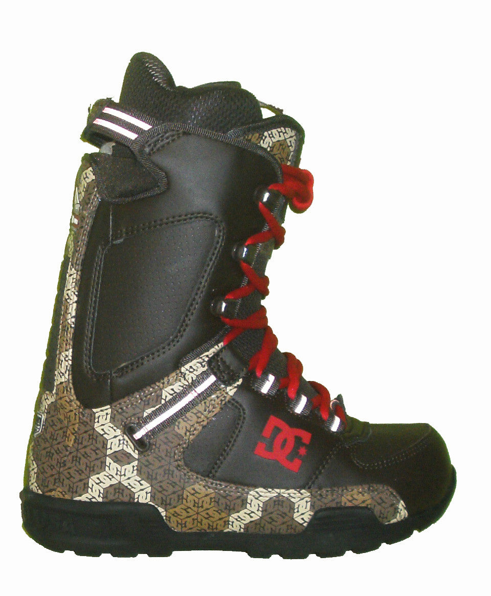 DC Park-Boot Lace Snowboard Boots Mens Size 5 equals Womens 6.5 Dark-Espresso-Athletic-Red