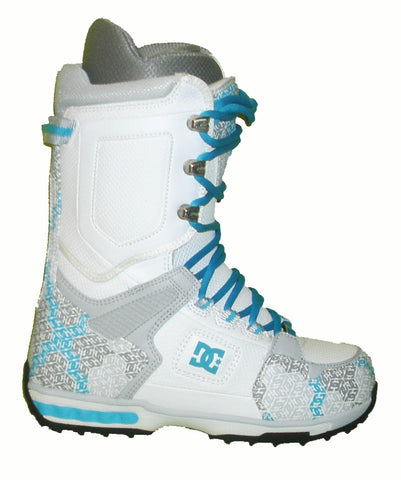 DC Balance Womens Lace Command-Liner Snowboard Boots Size 6 White-Turquoise equals Kids-4-4.5