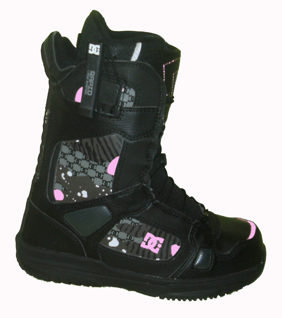 DC Siloh Womens Rapid-Lace Echo-Liner Snowboard Boots Size 6 Black-Pink equals Kids-4.5-5