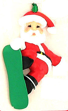 Santa Claus Snowboarding Christmas Tree Personalize It Ornament