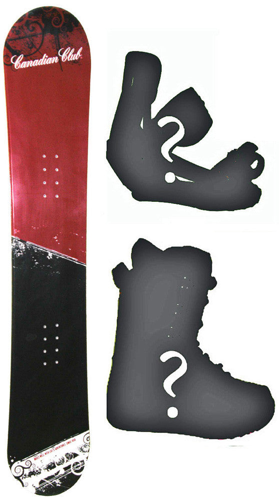 155cm Canadian Club Whiskey Snowboard Package with Boots and Bindings