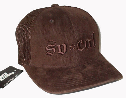 Socal No Fear Trucker Mesh Flex Fit Hat Brown L/XL