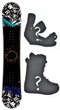 150cm SLQ Twin Turq Camber Snowboard Package With Boots And Bindings