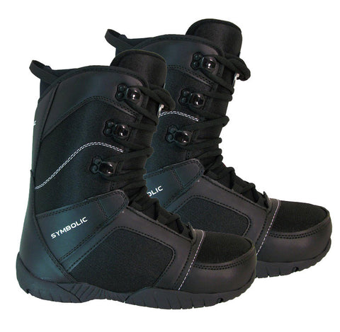 Symbolic Mission Mens Snowboard Boots Size 7, 8, 9, 10, 11, 12, 13, 14, 15 Black