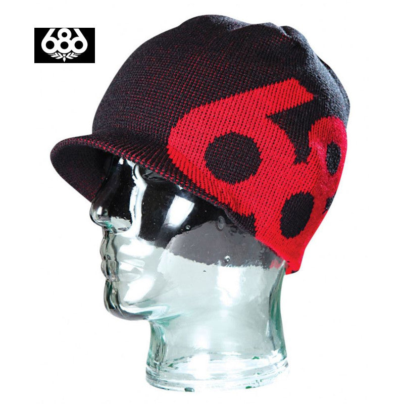 686 Icon Snowboard Ski Visor Beanie Beany Black-Red