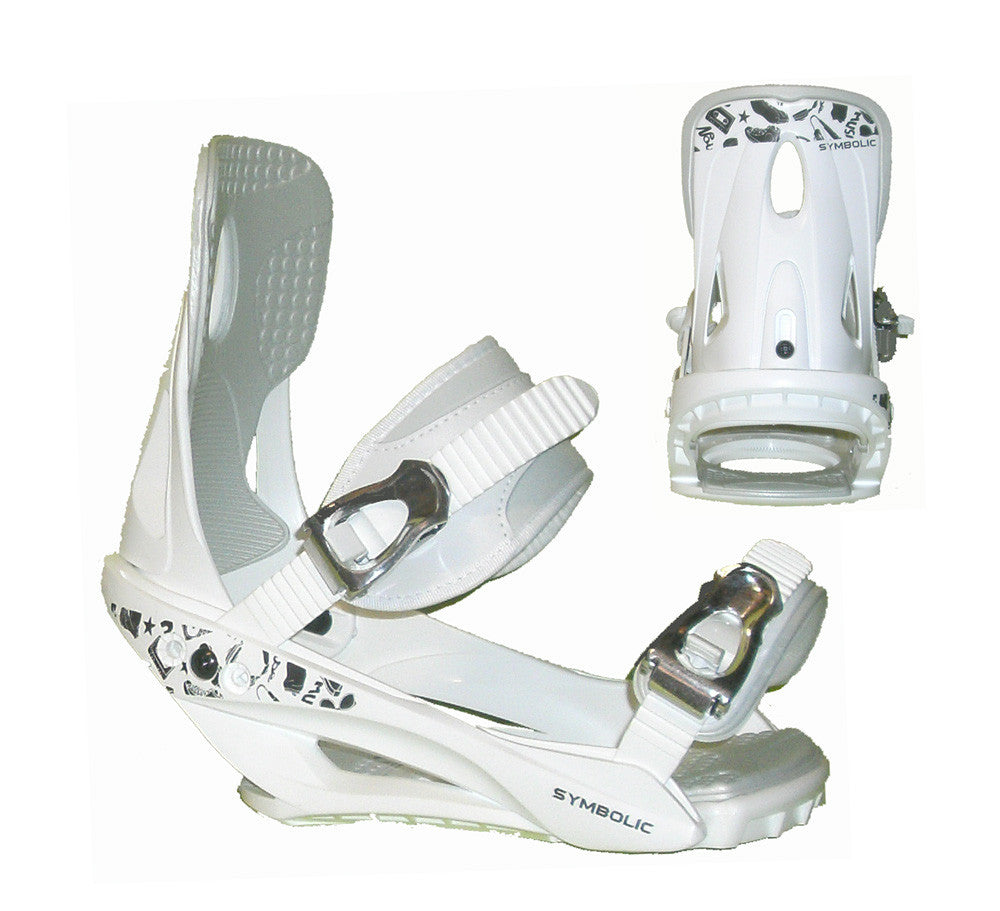 Symbolic Mission Womens Snowboard Bindings White Chrome Ratchit M L XL