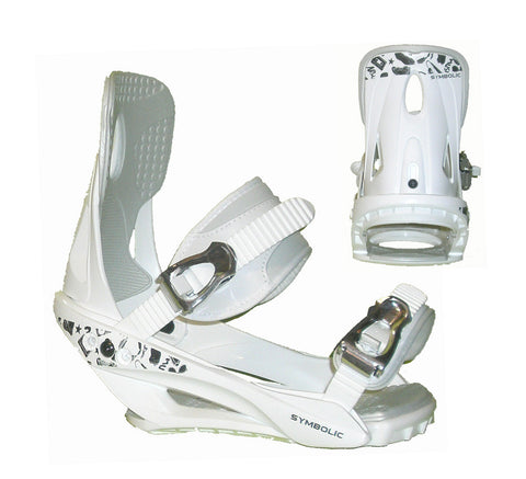 Symbolic Mission Womens Snowboard Bindings White Chrome Ratchit M L XL Blem 2nd