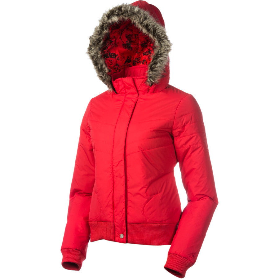 Volcom Bomber Puffy Snowboard Ski waterproof Jacket womens Red Fur XL