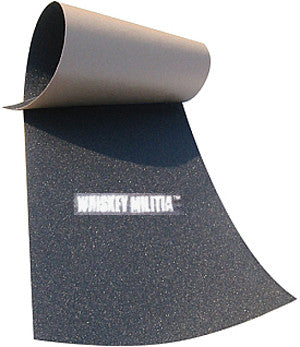 "Whisky Militia Grip Tape 4 Skateboard Black 7.75 x 33""."