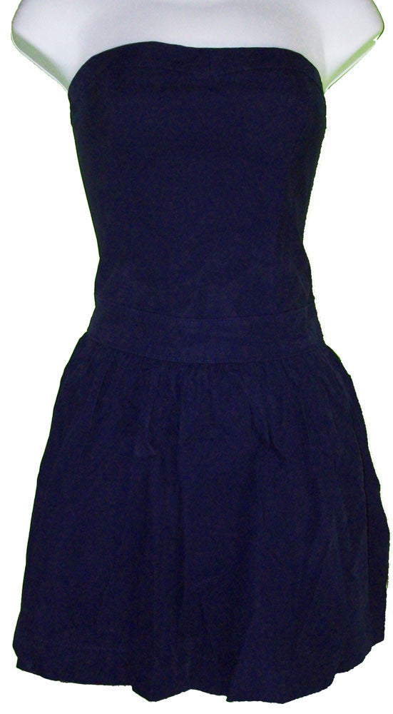 WOMENS HOLLISTER STRAPLESS DRESS DARK NAVY BLUE SZ x-small