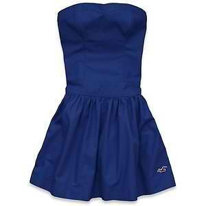 WOMENS HOLLISTER STRAPLESS DRESS POINT LOMA BRIGHT BLUE SZ SMALL