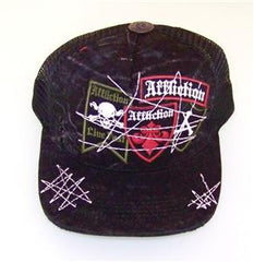 Affliction Staked Up Vintage Trucker Hat Ball Cap Mesh Black