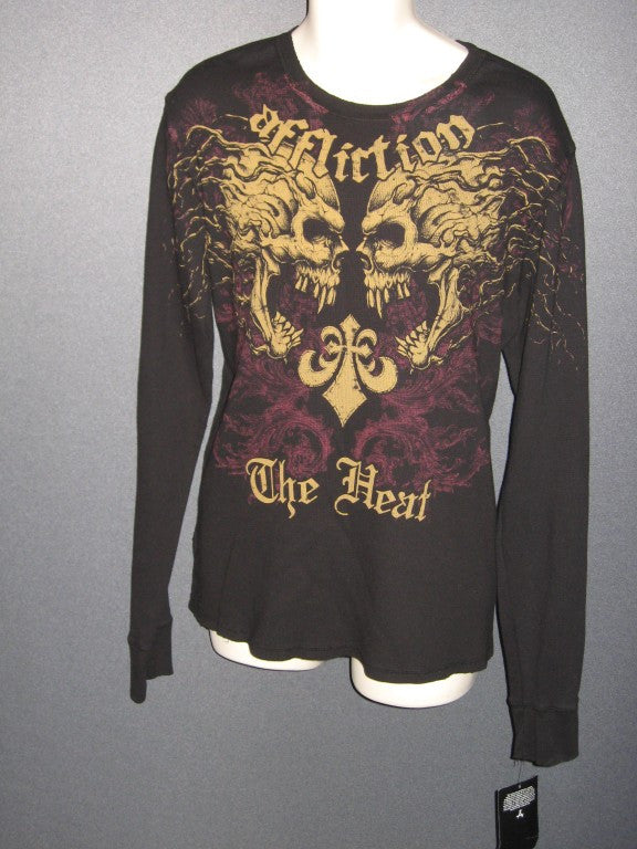 "Affliction Thermal l/s T-SHIRT Skulls Karo ""The Heat"" Parisyan 3xl xxxl"