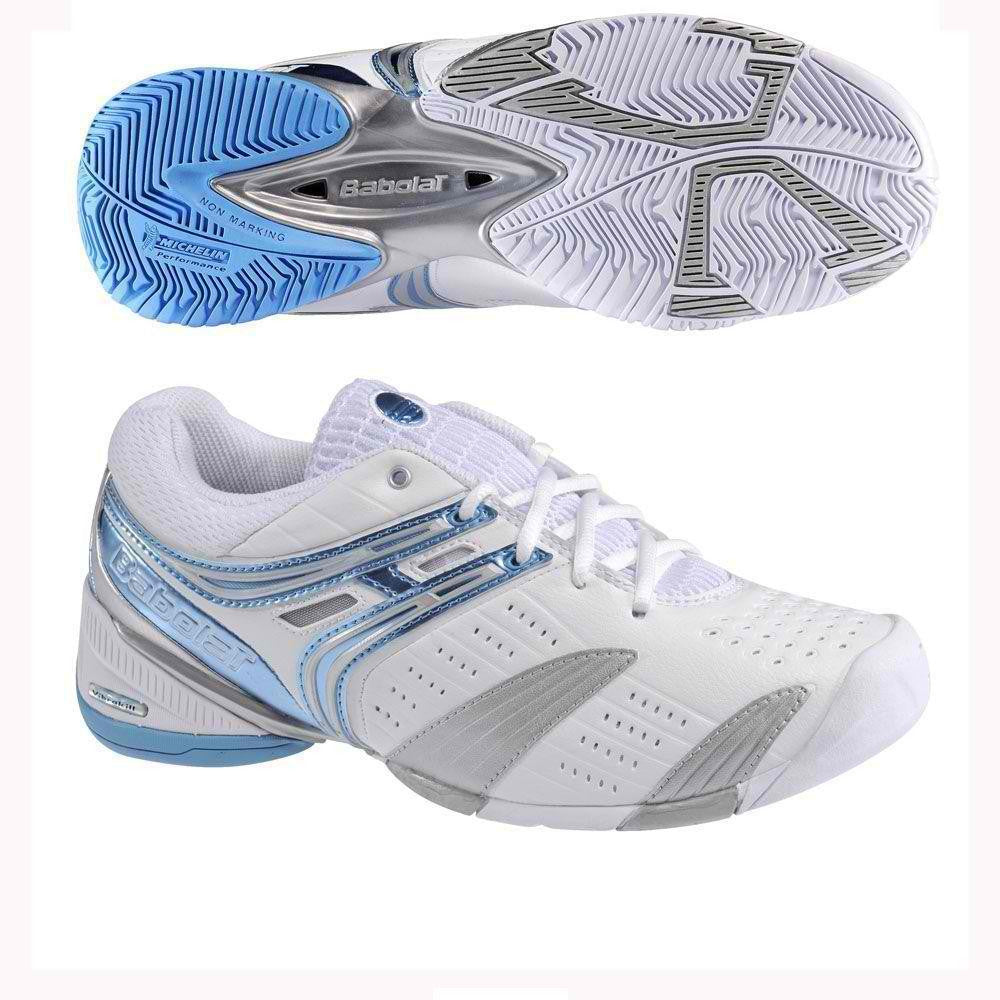 Babolat V-Pro Lady Womens 10.5 Tennis Shoes White/Blue/Silver