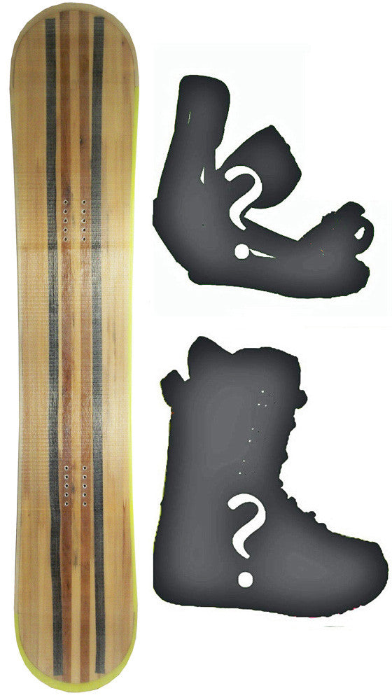 154cm Technine Blank Wood Grain Rocker Snowboard Package with Boots and Bindings
