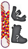 145cm Joyride Checkers White Camber Snowboard, Build a Package with Boots and Bindings