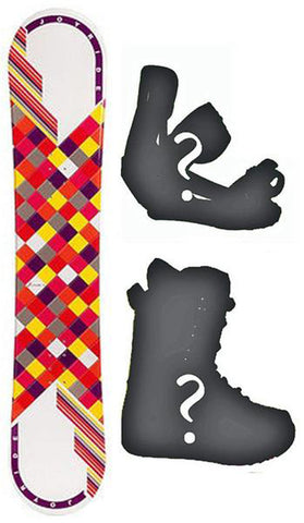 140cm Joyride Checkers White Camber Snowboard, Build a Package with Boots and Bindings