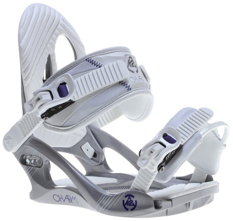 K2 Charm Silver Snowboard Bindings - Burton 3D, EST or 4x4 compatible Womens