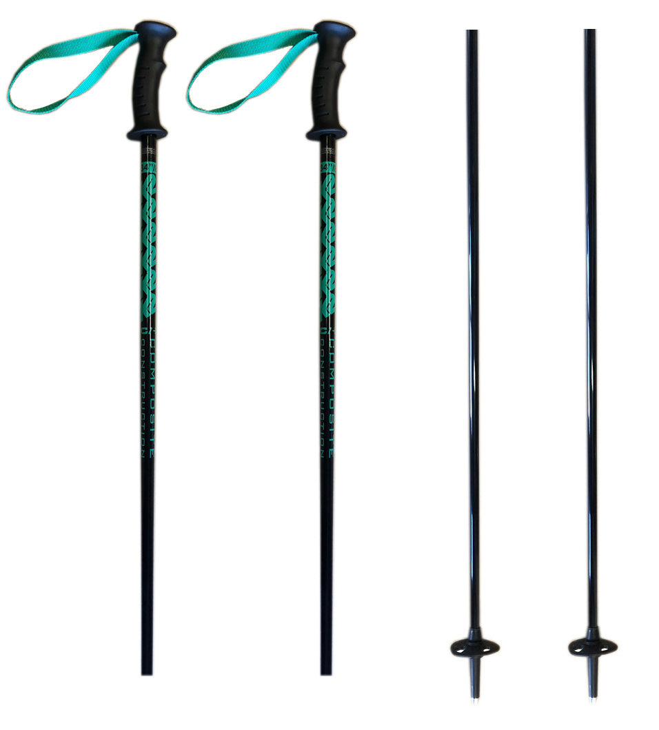 "K2 Composite Power Rental Ski Poles, Ski Skiing Pole with Tab Grip, Black Green 34""  85cm"