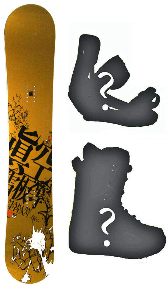 154cm Makuw Seppan Hero Rocker Snowboard, Build a Package with Boots and Bindings.