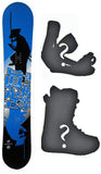155cm Makuw Shadow Blue Rocker Snowboard, Build a Package with Boots and Bindings.