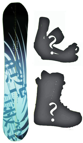 150cm Makuw Swirl Black Rocker Snowboard, Build a Package with Boots and Bindings.