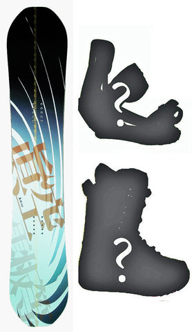 150cm Makuw Swirl Black Gold Rocker Snowboard, Build a Package with Boots and Bindings.