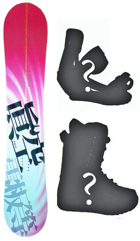150cm Makuw Swirl Pink Rocker Snowboard, Build a Package with Boots and Bindings.