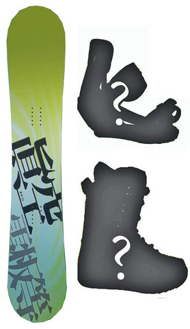 150cm Makuw Swirl Yellow Rocker Snowboard, Build a Package with Boots and Bindings.