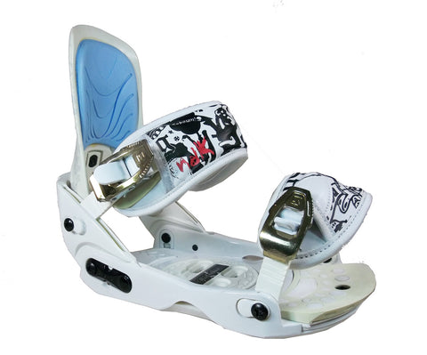 Nidecker Gold-Black-White and Blue Blem Snowboard Bindings L/XL