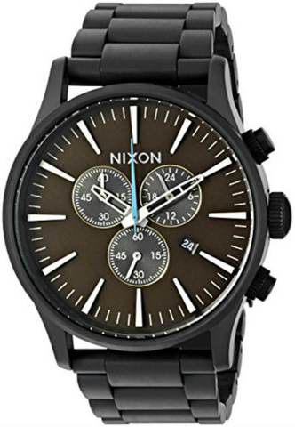 Nixon Men's Watch Never Be Late Chrono Black Blue Dial Stainless Steel Sentry 42mm Rare