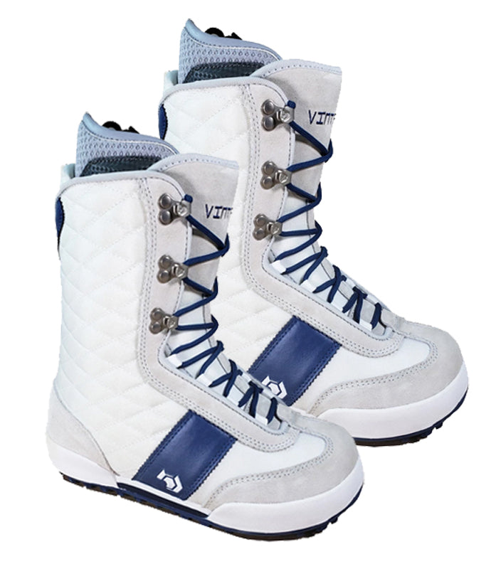 Northwave Vintage Snowboard Boots White Grey Blue, Womens 6.5-7.5 (runs 1/2-1 size small)