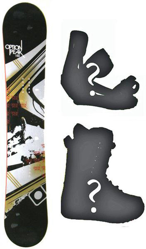 150cm Option Peak Rocker Snowboard, Build a Package with Boots and Bindings.