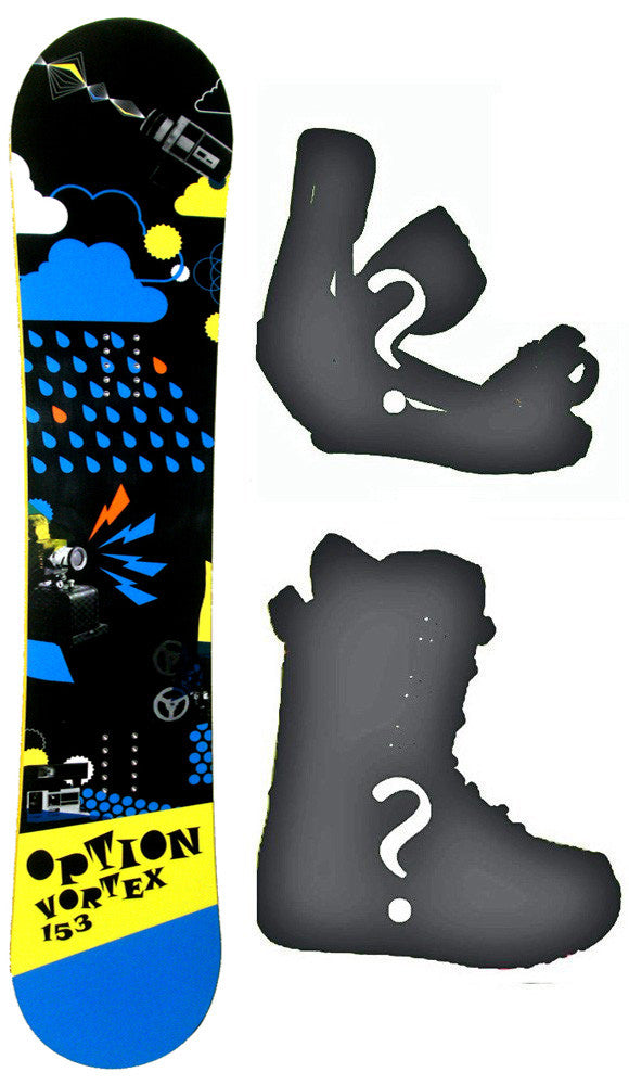159cm Option Vortex Rocker Snowboard, Build a Package with Boots and Bindings.