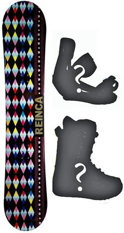138cm Reinca Japan Black Rocker Snowboard, Build a Package with Boots and Bindings.