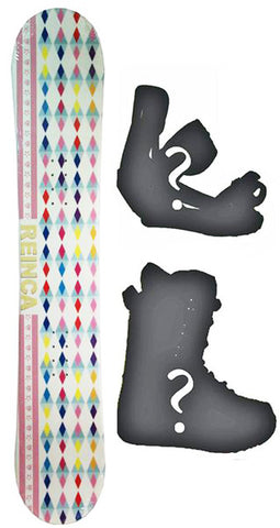 138cm Reinca Japan White Rocker Snowboard, Build a Package with Boots and Bindings.