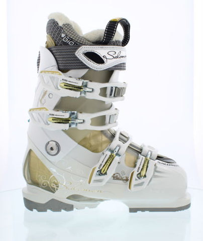 Salomon Divine RS 7 Womens Ski Boots Gold White 6 or 6.5 Mondo 23.5 Last 1