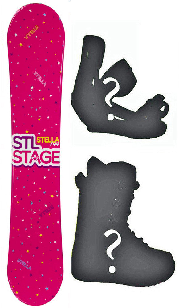 140cm Stella Stage Pink Rocker Snowboard, Build a Package with Boots and Bindings.