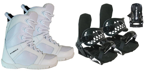 Symbolic UL Snowboard White Boots & BLK Bindings Package Deal Mens Size 5 6 7 8 9