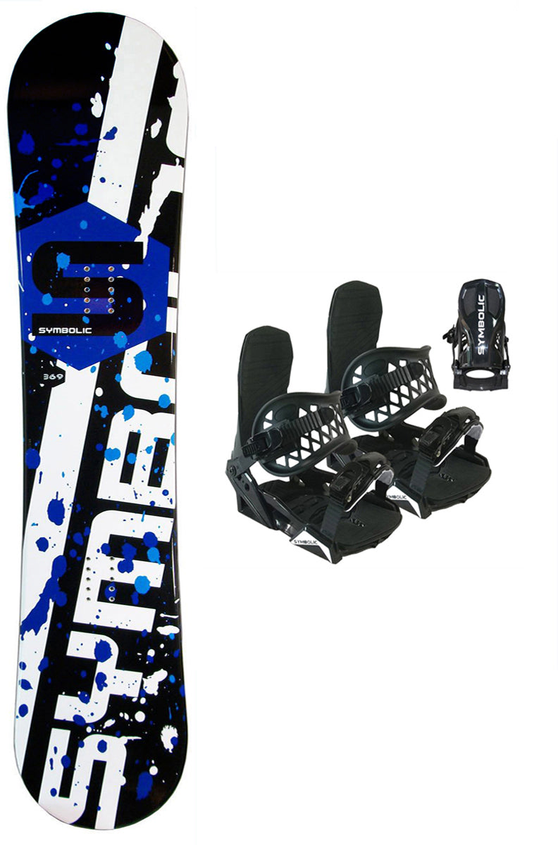 120cm Symbolic Chopper Kids Snowboard Blem AND Bindings Black XS (Included)