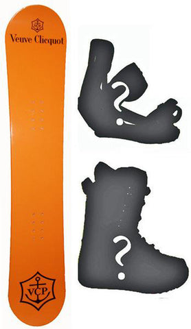 143cm Veuve Cliequet Champagne Camber Board Build a Snowboard Package With Boots And Bindings