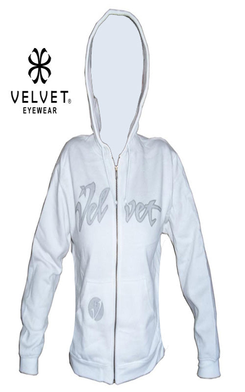 "Velvet ""Juicy"" Zipper Hoodie Womens Sweatshirt White S M L"