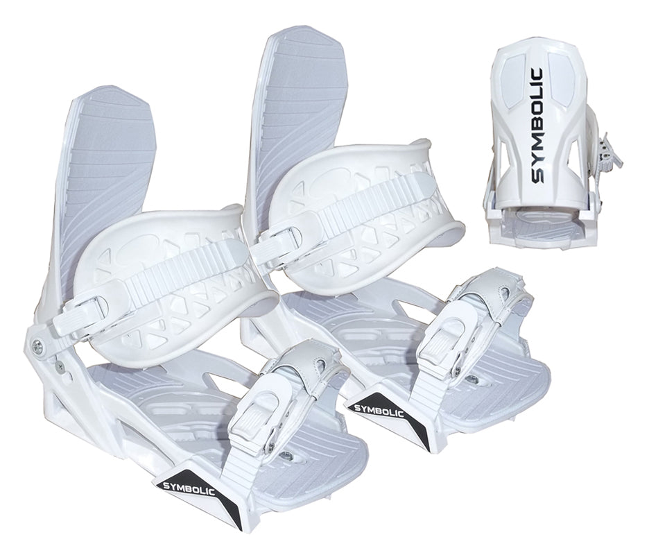Symbolic Flow-Ride Snowboard Bindings 4x4 or Burton 3d Womens Girls S M L white