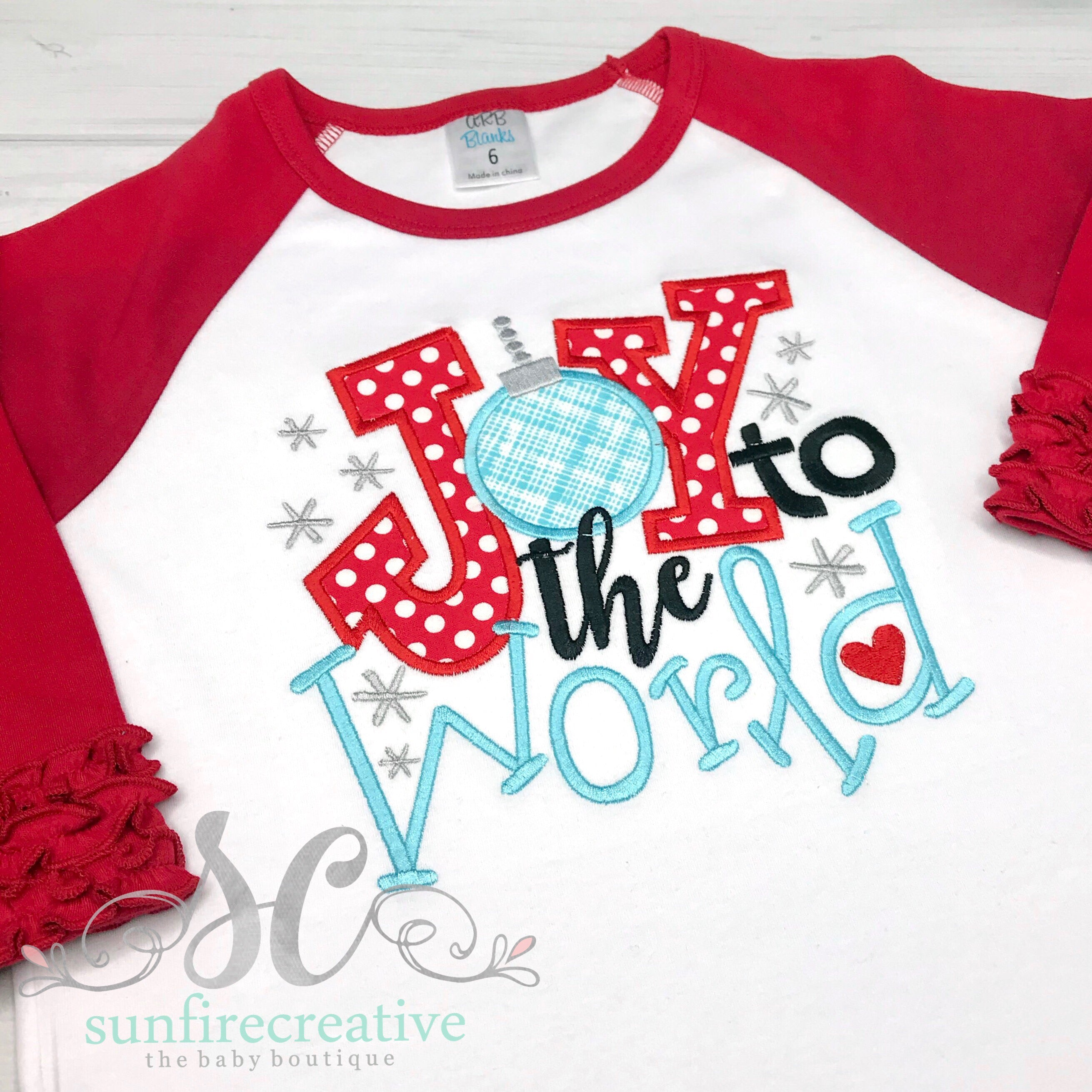3992535368c9 Joy to the World Outfit - Girls Christmas Outfit – Sunfire Creative
