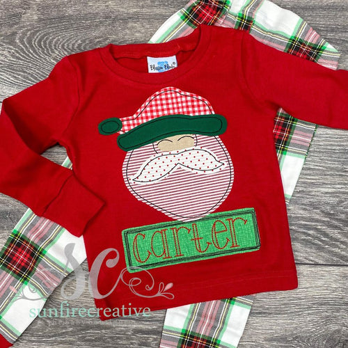 Plaid Christmas Pajamas with Santa