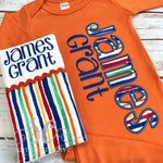 Orange and Blue Baby Boy Coming Home Outfit - Sunfire Creative Baby Boutique