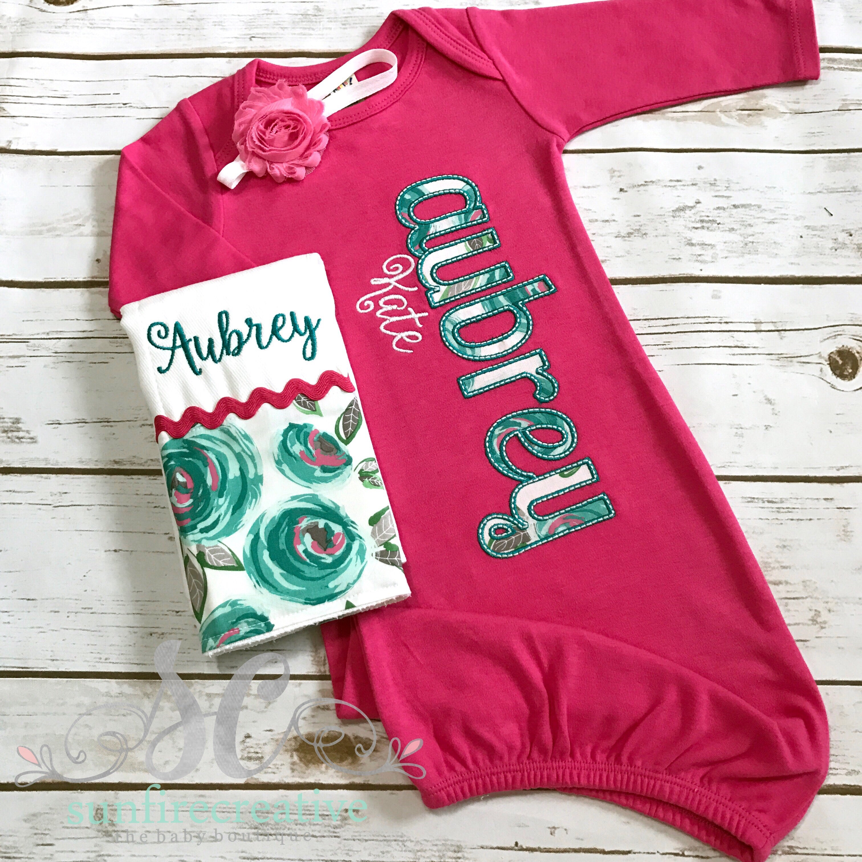 Hot Pink Baby Gown - Baby Girl Coming Home Outfit – Sunfire Creative