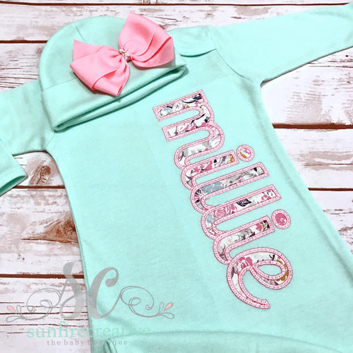Mint and Baby Pink Newborn Girl Outfit