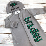 Gray Footed Sleeper, Gown or Onesie with Green and Black Plaid