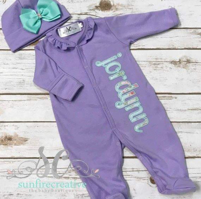 Girls Coming Home Outfit - Pima Cotton Footed Sleeper - Sunfire Creative Baby Boutique